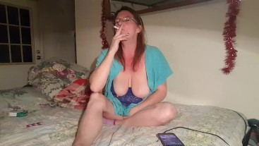 Smoking and playing with Nipples Clamps