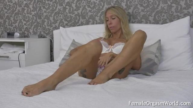 Blonde Tattood MILF with Long Hard Nipples Moans and Mastubates 5