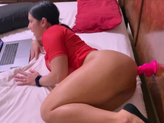 Big ass Latina gets fucked in the ass after she gets caught with a dildo