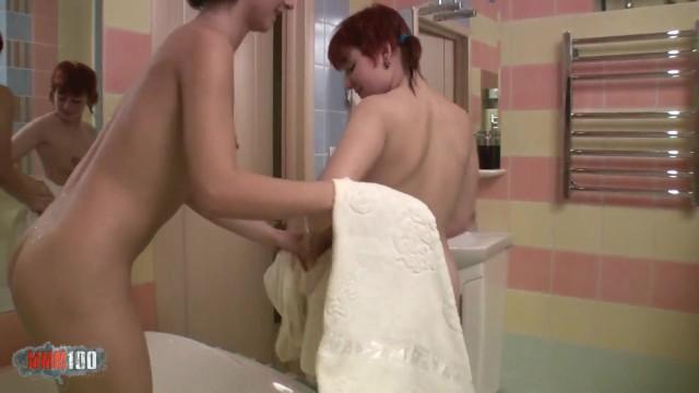 Lesbians teen dildoing in the tub 36