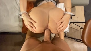 Unexpected hotel maid caught me jerk `n end with Huge Gapping AssHole