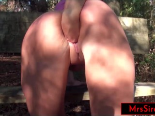 Slutwife fisting and squirting in public park...