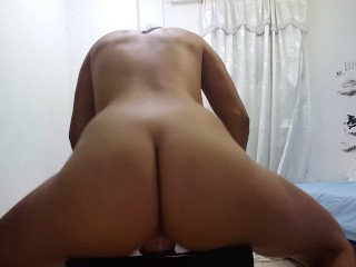 Riding that fucking dildo hard to satisfy the appetite my husband let in me