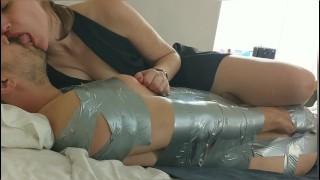 DucTape Bondage P2: Deep Kissing/Tongue Play/Spit & Nursing