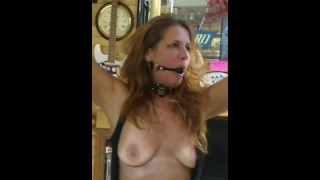 Slave Girl Daizy Left Alone Tied & Chained & Ballgag to Pole