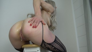 Hot young milf ANAL! Blonde mom gets both holes fucked & creampied closeup!