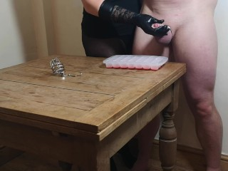 Chastity Release – First Ruined orgasm for the xmas ice cube challenge