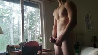 Buff Teen Shoots Cum To A Nice View! (Explosive cumshot)