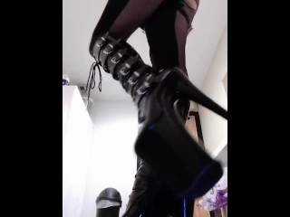 10 inch stiletto goth boots and My catsuit