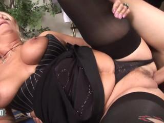 Slut fucking her young customer...