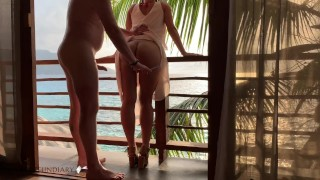 Making Baby At Honymoon Before Wedding Party In Paradise Ends With Cumpussy