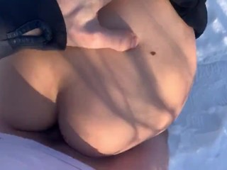 Winter Outdoor: Young Tight Teen gets fucked and caught by StepMother
