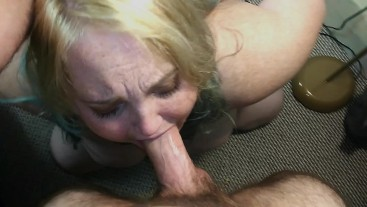 TATTOOED SLUT DEEPTHROATS THICK COCK AND GETS A FACEFUL OF CUM