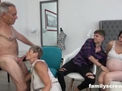 8 Months Preggie Maid Watching Stepfamily Fuck