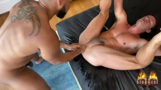 STUDFIST NATE GRIMES GETS DEEP AND ROUGH FISTED BY RAY DIESEL IN SPREAD