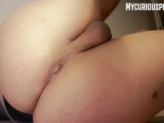 Anal play... This dildo is just too big for my tight ass!! Cumshot too!