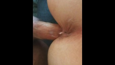 Close-Up fucking my ftm trans bf from behind with my hard cock