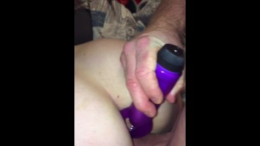 Pussy fuck DP w/ Cock/Dildo together. Anal plugged, Finish w/ Cum on tits.