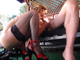The Webcam Experience Presents Peppermint and Dusty in Squatting Blow Job in High Heels and Stockings