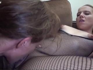 Busty blonde babe fucks her lesbian stepmom with...