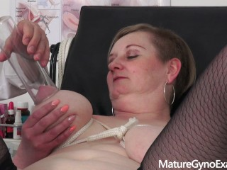 Special pussy and breasts examination of busty mature woman small chubby girl