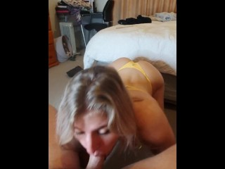Cock Hungry Blonde Works Hard and Swallows His Load