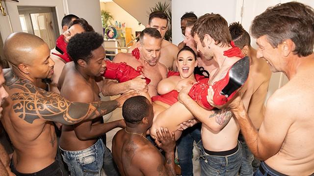 Bggest cock ever Jules jordan - swarmed by 13 guys angela whites biggest blowbang ever