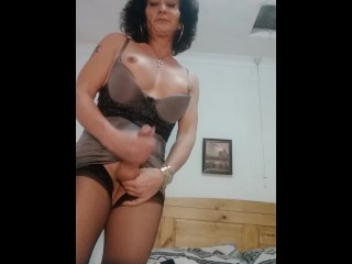 Tranny clip wanking cock close up for a...