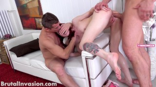 4K - 2 Cocks destroy young Teen Slut - never saw something like this