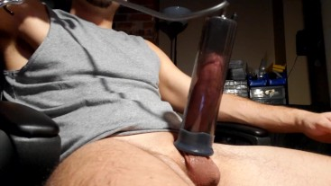 Pumping my fat cock and juicing it with a fleshlight