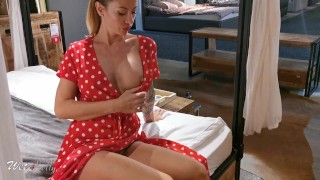 Pantyless girl goes flashing in the public store and fucks in the office.
