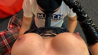 Surprise with a hidden strapon! Babe pegging him with big black cock POV