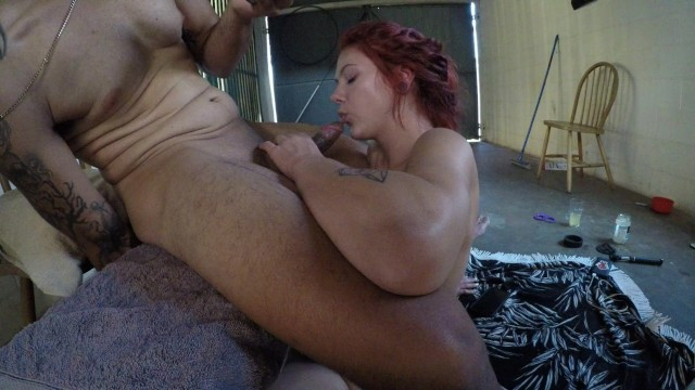 Girlfriend sucks great cock for BF in his back shed. 18