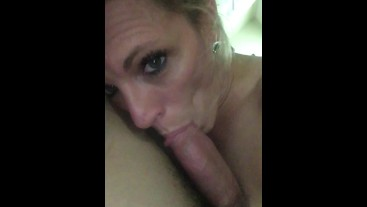 Unedited. Sexy milf gives sensual blowjob. Real couple. Real good.