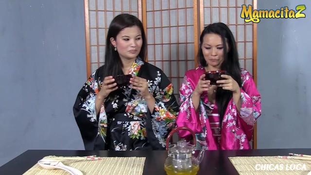 Chicas Loca - Small Tits Asian Babes Share a Big Black Dildo - MamacitaZ 6