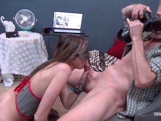 Hot masked brunette MILF sucking cock while being streamed live