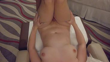 Thick Thighs Pale Busty Curvy Redhead ThighJob & Hairy Ginger Bush Pussyjob