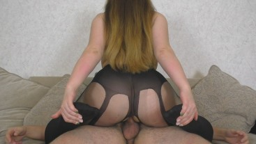 Fucked Step Sister with a big ass in pantyhose - Cum Ass