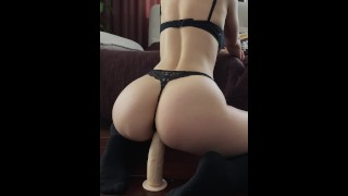 Cute girl in stockings riding big dildo - Mini Diva