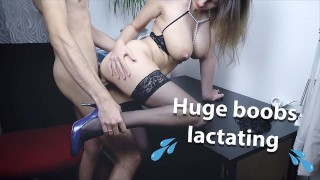 ♥ MarVal - Big Lactating Tits Young MILF In Sexy Stockings and Lingerie ♥