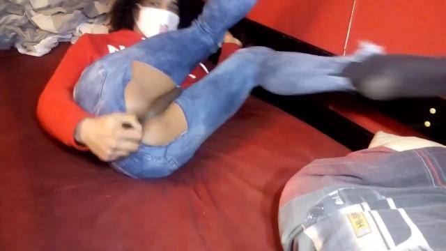 Femboy rips their pants to dildo themself 14