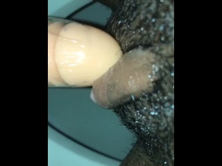 Takes big dildo in pussy huge throbbing clit...
