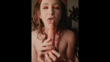Festive Cutie Sucks on Dildo, Fingers Hairy Pussy & Cums For You