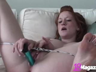 Redhead Pale Pussy, Lucy Daily, Dildo Fucks Her Young Cunt!
