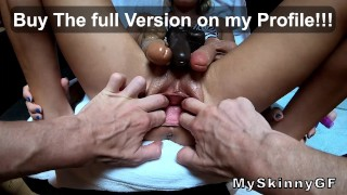 TRAILER Extreme pussy gape with 3 dildos, is a challange for my skinny GF