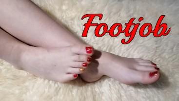 EvilKitties cute brunette babe footjob, cum on feet, toejob & tonail polish