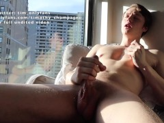 Hunk jerks off in view of neighbors ;)