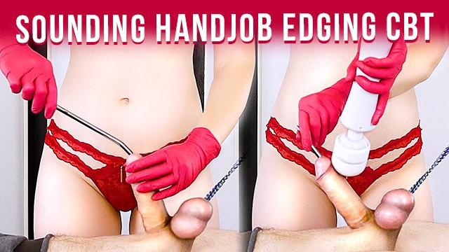 Urethral torture porn Urethral sounding bound cock handjob in gloves to cum edging cbt era