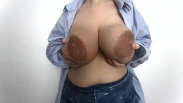 Big natural milking tits in blue shirt