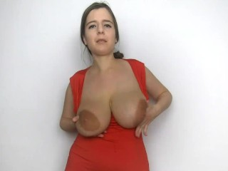Lena rose in red dress striping and showing...